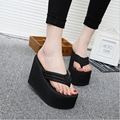 New 2016 High quality Ultra 12cm  High Heels Beach Slippers Summer slip muffin Wedges Platform Sandals Flip Flops Women Shoes