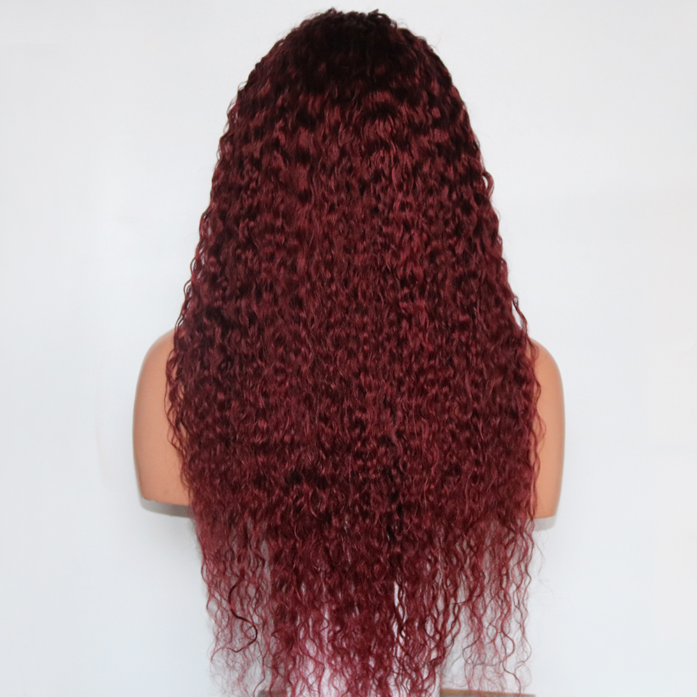 Eversilky Brazilian Remy Human Hair 360 Lace Frontal Wig Burgundy Curly Human Hair Wigs Wet And
