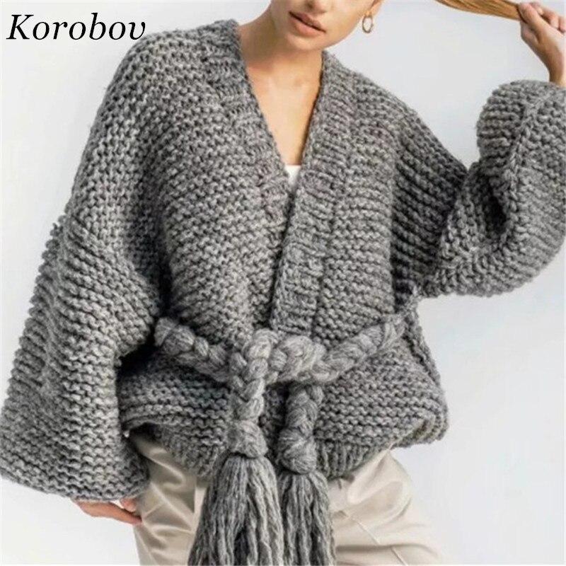 Mode Longues Manches La Mujer Femmes Nouveauté Tricots Chandail Européenne cou À Ceintures 76072 Korobov Gland V S8fw7