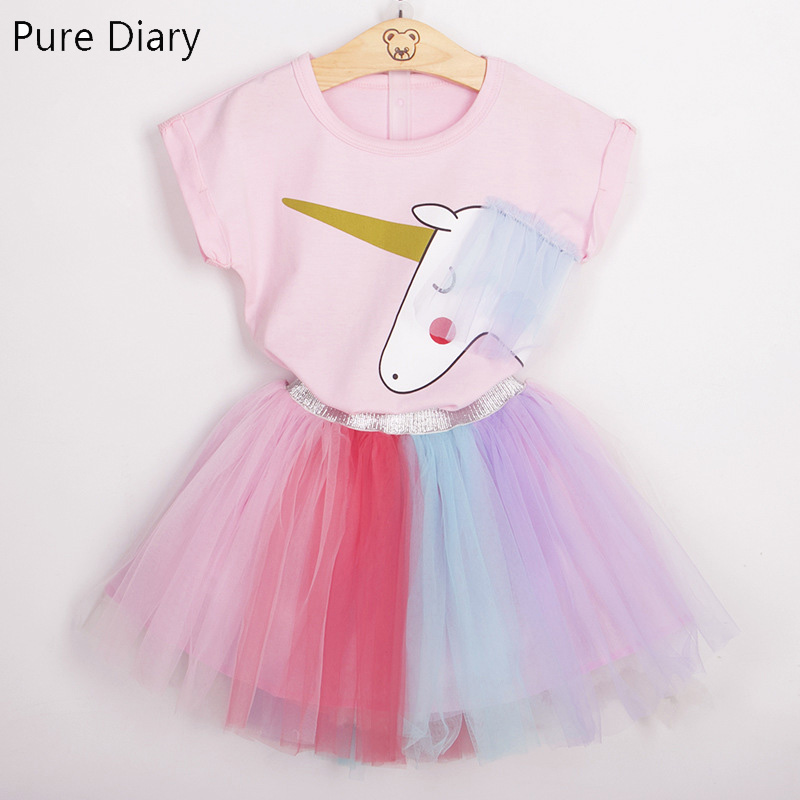 Pure Diary Baby Girls Summer Cotton Clothes Unicorn Pattern Party Dresss Summer Top+Skirt Kids Clothes Girl Sets Girls Clothes