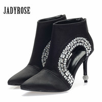 Jady Rose Ankle Boots for Women Pointed Toe Hollow Out Summer Boot Black Women Pumps Rhinestone High Heels Botas Mujer