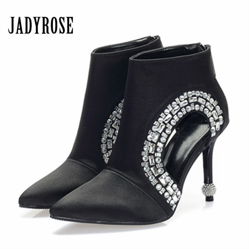 Jady Rose Ankle Boots for Women Pointed Toe Hollow Out Summer Boot Black Women Pumps Rhinestone High Heels Botas Mujer купить в Москве 2019