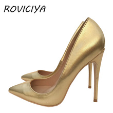 Pointed Toe Silver Gold high heels 12 cm Pumps Shoes Prom Wedding Shoes Brand Designer Stiletto Shallow plus size YG018 ROVICIYA cocoafoal woman silver high heels shoes stiletto plus size 33 43 44 wedding silver gold pumps pointed toe sexy valentine shoes