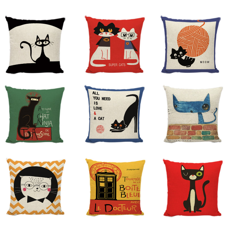 Personalized Cartoon Black Cats Cushion Covers Geometric Patterns Color Painting Office Decor Baby Room Print Throw Pillow Cases