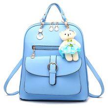 Simple Style Backpack Women PU Leather Backpacks For Teenage Girls School Bags Fashion Vintage Solid Shoulder Bag