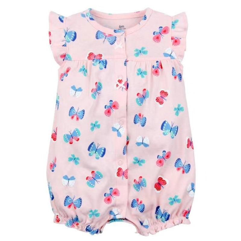 2018 Newborn Baby Boys Girls Boxer Romper kid Clothes Short Sleeve Infant bodysuits Butterfly Strawberry dinosaur appliques