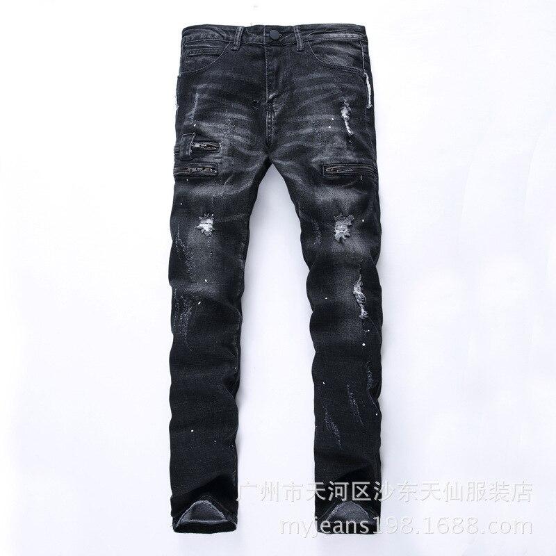 Autumn winter zipper Mens Ripped   Jeans   street tide brand elastic Slim straight men motorcycle   jeans   broken solid black   jeans