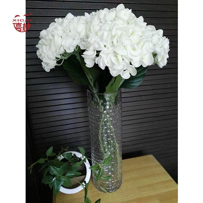 1 pièce (ou 5 pièces)/Combo grande taille (20 cm de diamètre) fleurs en soie maison/mariage/vacances décoration fleurs artificielles hortensia