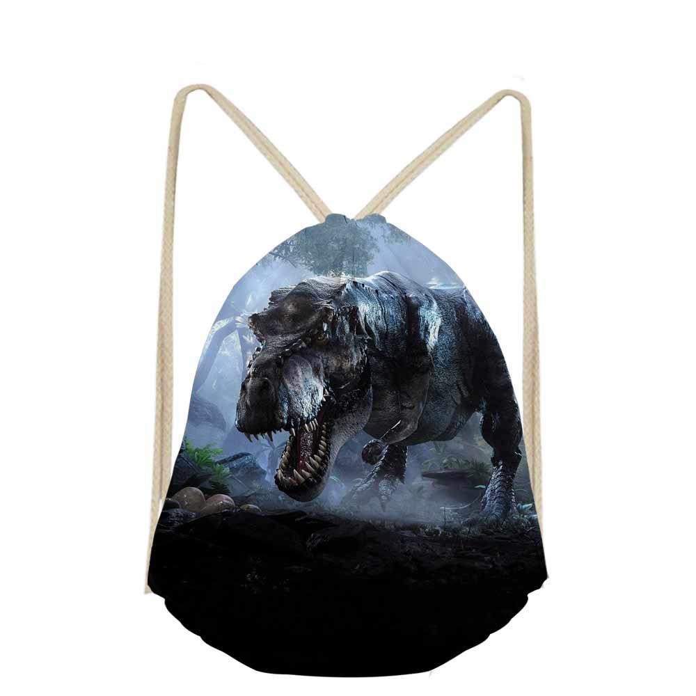 Jurassic Century Dinosaur & Dragon Print Travel Men's Backpack Drawstring Bag Casual Bagpack Boys Shoes Cloth Storage Bags