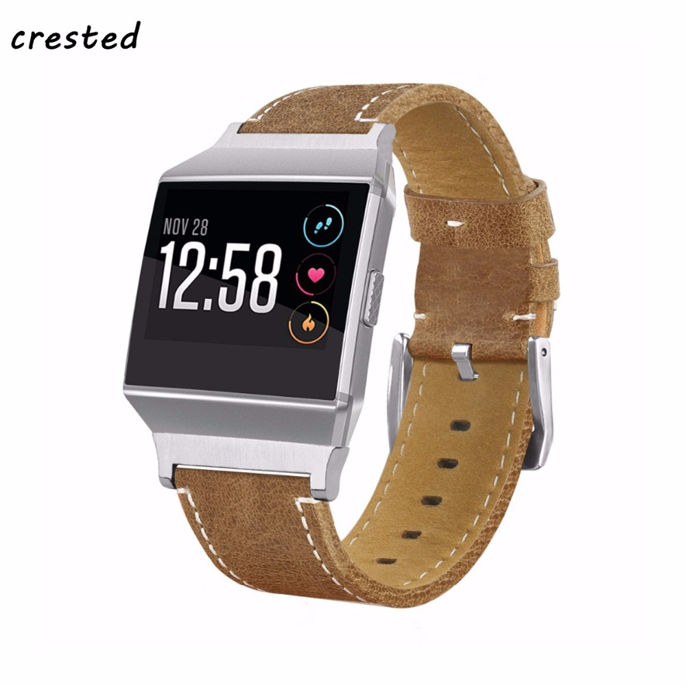 CRESTED Genuine Leather strap for fitbit ionic band wrist watch Bracelet Replacement wristband Watchband fitbit ionic smartwatch replacement accessory metal watch bands bracelet strap for fitbit alta fitbit alta hr fitbit alta classic accessory band