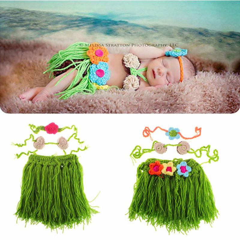 Baby Hawaiian Hula Dancer Grass Skirt Covered with Diaper & Coconut Bra and a headband Flower Cluster on the Skirt Photo Props