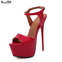 New 2017 Fashion Peep Toe  High-heeled Sandals Sexy Open Toe 16CM High Heels Sandals Party Dress Women Shoes
