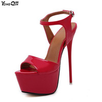 New 2017 Fashion Peep Toe High Heeled Sandals Sexy Open Toe 16CM High Heels Sandals Party