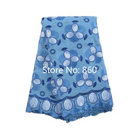 High Quality Swiss voile lace 860 Sky Blue + Royal Blue + White, Free Shipping(5 yards/pack), 100%cotton African lace