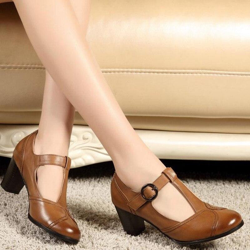 春夏新レトロ丸頭浅い口の本革の女性のハイヒール大サイズの女性靴メアリージェーン靴 本日の割引 IOW 2019