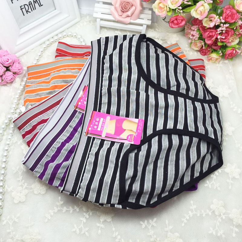 Cheap wholesale 10Pcs/lot ropa interior femenina Cotton Striped Underwears Women   Panties   Plus Size 5XL lingerie women's briefs