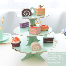 Bronzing monochrome three-layer cake stand Decorate Birthday Party 3 Tier Cupcake Holder Kids Boys Favors Baby Shower  1set/pack