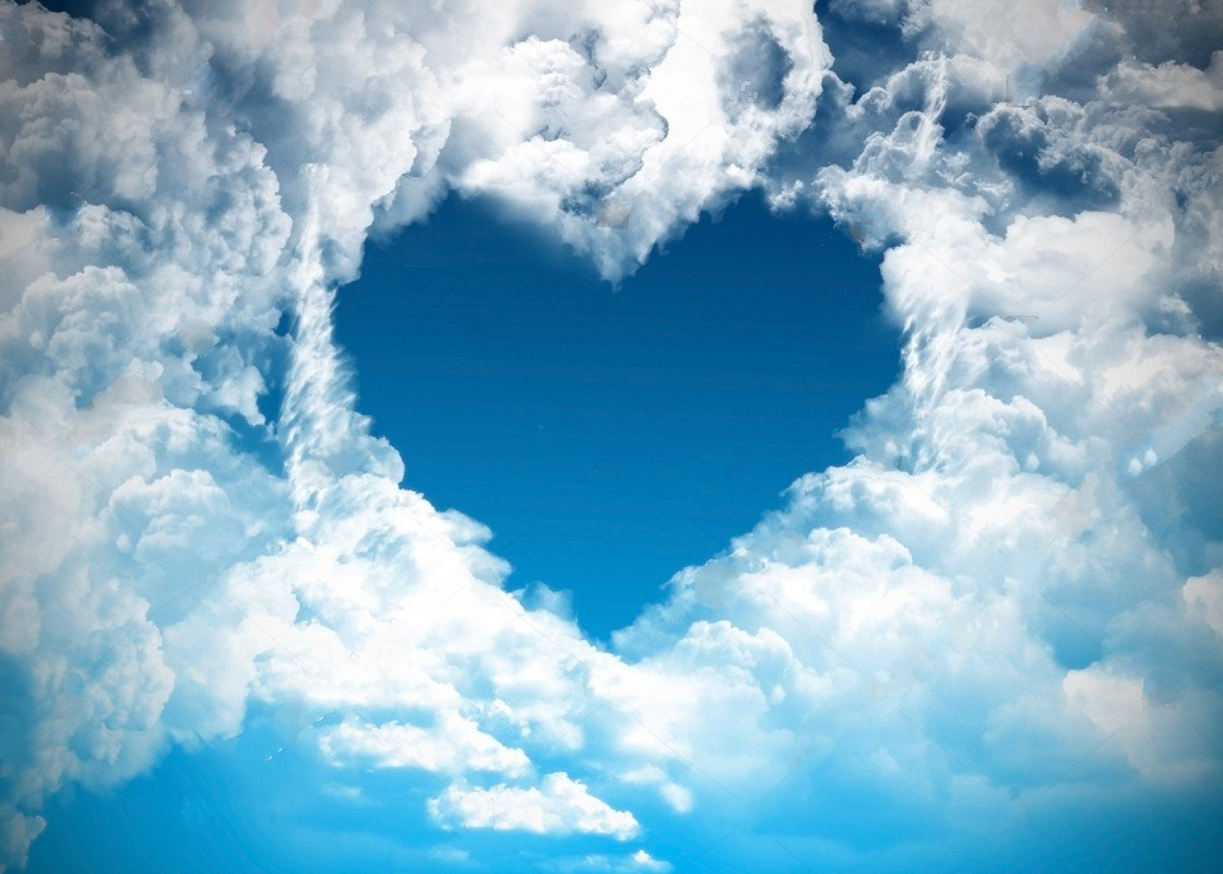 Blue Sky heart white clouds Love Valentines Day backdrops Vinyl cloth High quality Computer print wall Background