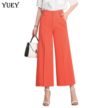 YUEYUAN women wide leg cropped high waist plus size loose female summer thin calf