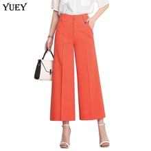 YUEYUAN women wide leg cropped high waist plus size loose female summer thin calf
