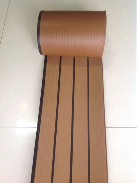 12 5 Meter Of Synthetic Wood Teak Boat Marine Waterproof Pvc190 5mm Flooring Decking With Black
