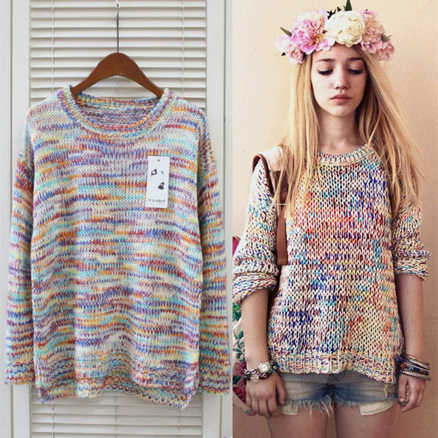 Round Long Sleeves Sweet Girls Sweater Nice Lovely Clothes Fashion Ladies  Sweaters Beacutiful Rainbow Cardigan women