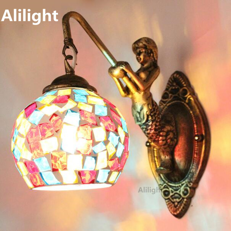 Vintage Mermaid Mosaic Bedroom Wall Lamp Stained Glass Bar