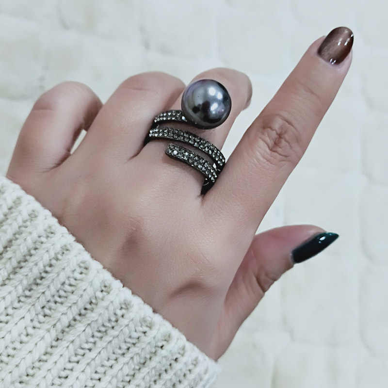 SINLEERY Vintage Gray Simulated Pearl Rings Size 6 7 8 9 Female Wedding Party Jewelry 2019 New Style SSI