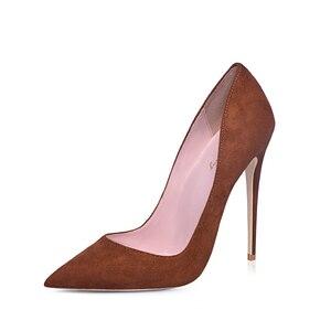 Image 2 - GENSHUO Faux Suede Pointed Toe Stilettoรองเท้าส้นสูงปั๊มตื้นSLIP ON Stilettoรองเท้าส้นสูงรองเท้าจัดงานแต่งงานสีม่วงสีฟ้าสีน้ำตาล