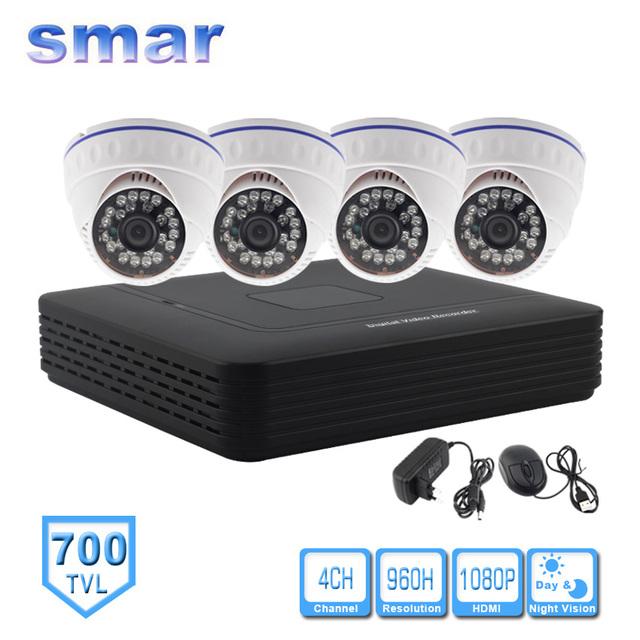 Kit de 4 Canales CCTV Sistema de Cámara CCTV DVR Standalone DVR HVR NVR 3 en 1 Video Recorder 4 unids 700TVL Cámara Domo de Infrarrojos seguridad