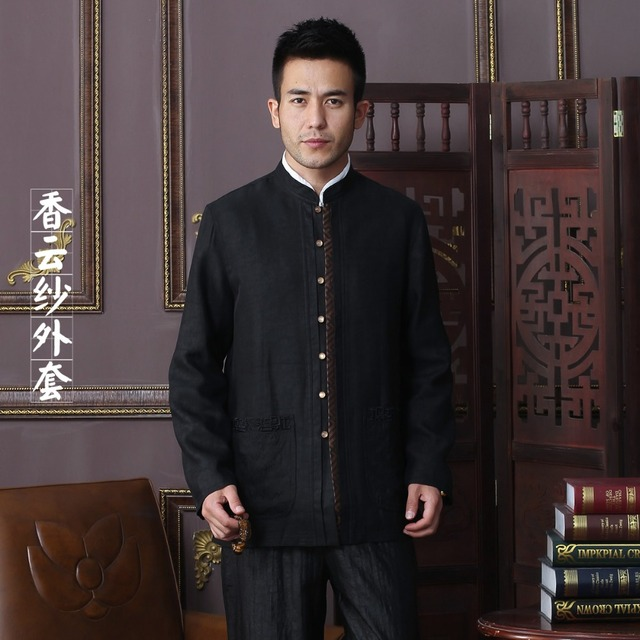 97bbf14d73b64 New Arrival Autumn Men Jacket 100% Silk Chinese Traditional Style Kung Fu  jacket Fashion Tang Suit jacket Size L XL XXL 3XL 4XL
