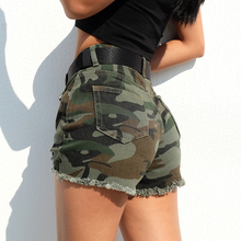 2019 Summer New Street Style Sexy Biker Denim Shorts High Waisted for Women Plus Size Camouflage Button Casual Women Hole Short casual camouflage pattern middle waisted shorts