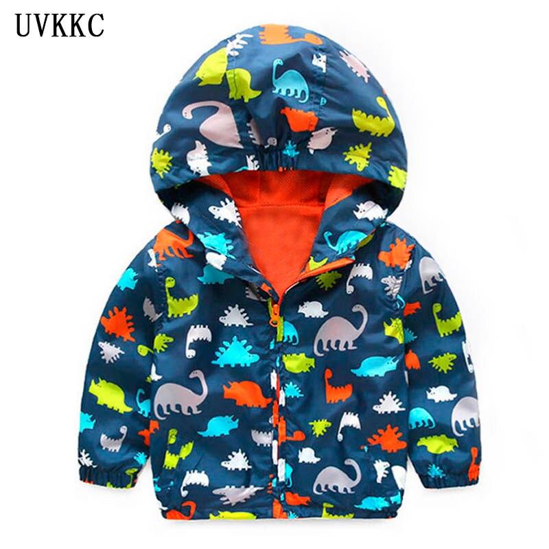UVKKC Boy windproof jackets fall cartoon dinosaur graffiti thin breathable baby jacket jacket childrens clothing hood coat