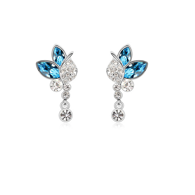 Blue Erfly Earrings Studs Ol Women Fashion Wedding Jewelry Accessories Austrian Crystal Nickle Free Christmas