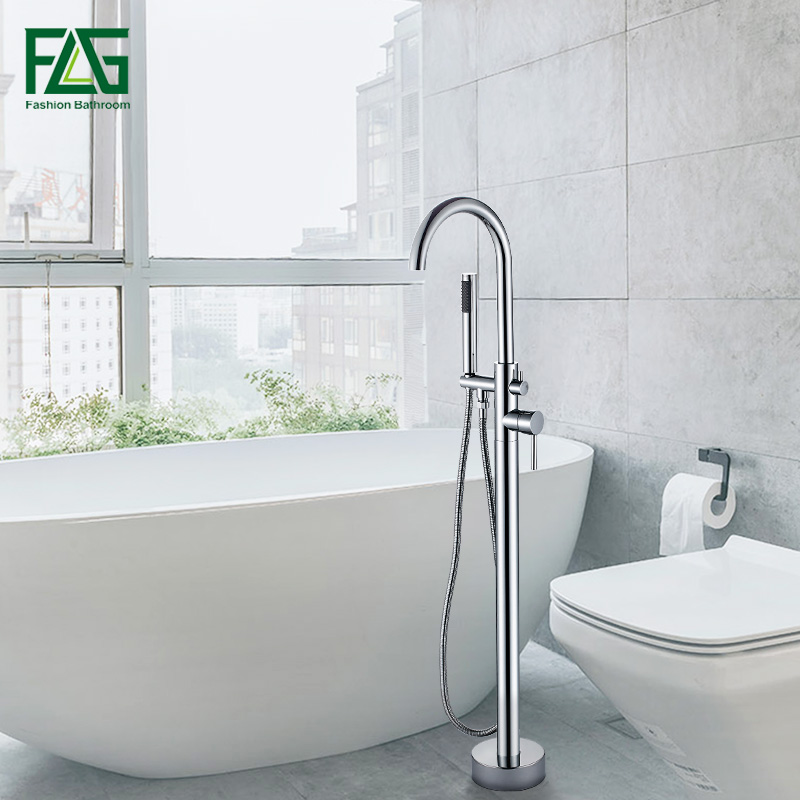 FLG Chrome Bathtub Floor Stand Faucet Mixer Single Handle Mixer Tap 360 Rotation Spout With ABS Handshower Bath Mixer Shower