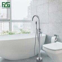цена на FLG Chrome Bathtub Floor Stand Faucet Mixer Single Handle Mixer Tap 360 Rotation Spout With ABS Handshower Bath Mixer Shower
