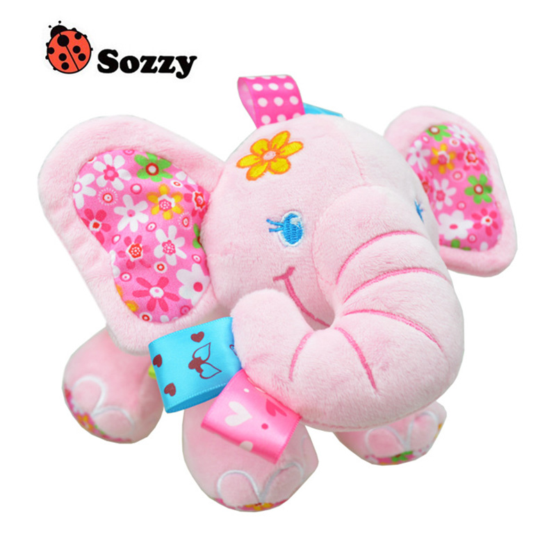Sozzy Newborn Baby Hanging Toys Cute Animal Elephant Pull Bell Plush Stroller Mobiles Baby Rattle Pram Bed Hanging Kids Toys