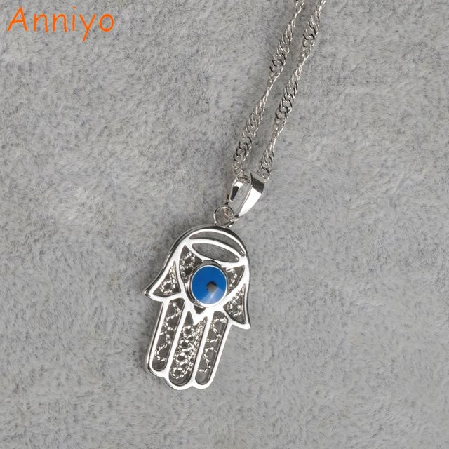 Anniyo arab blue evil of eyes silver color and hamsa hand pendant anniyo arab blue evil of eyes silver color and hamsa hand pendant necklace nazar hand fatima mozeypictures Image collections