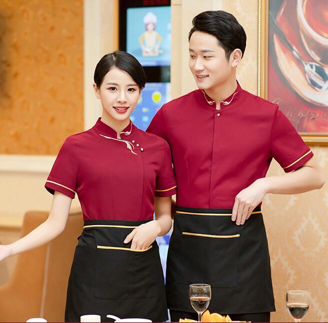 Hotel Work Outfit Cafe Waiter Uniform Summer Food Service Short Sleeve Western Restaurant Waitress Clothing Work Wear Tops