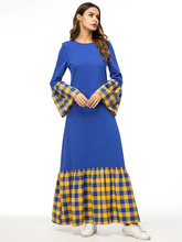 Muslim Gowns In Trumpet Sleeve Dresses With Plaid Stitching Of European And American Thicker Knitted Sanitary Garments недорого