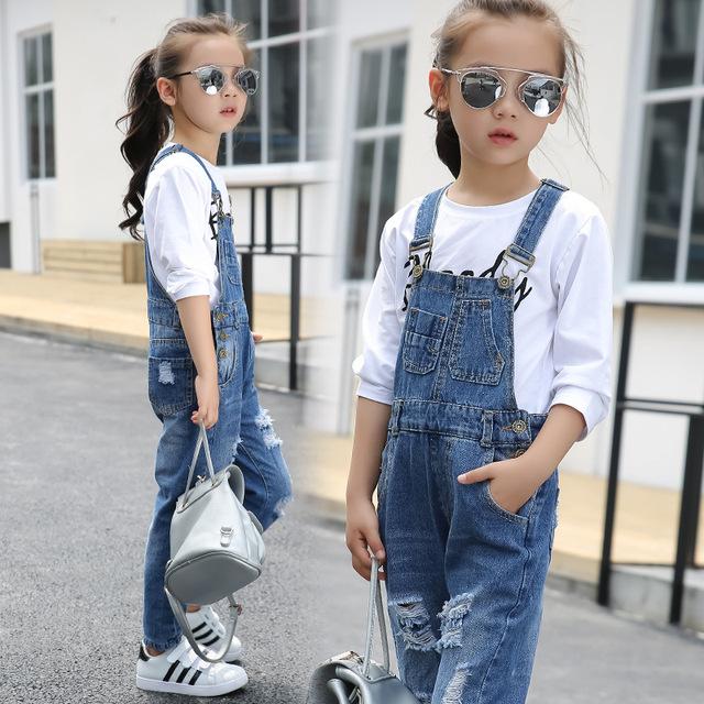 Child jeans 2018 Spring girls Suspenders denim trousers  children pants
