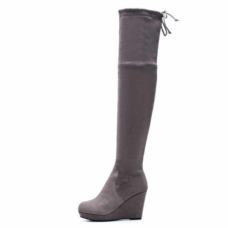 Сапоги до бедра на танкетке; женская обувь на высоком каблуке; сезон весна-осень; женские ботинки на платформе с перекрестными ремешками и круглым носком; цвет черный, серый; A261