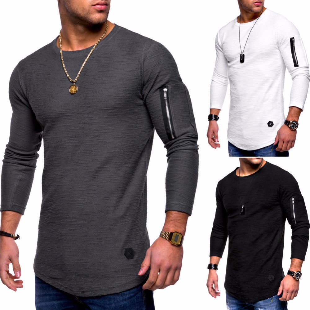 New Summer Autumn Fashion Casual Slim Elastic Soft Solid Long Sleeve Round Neck Men   T     Shirts   Hip Hop Male Fit Tops Tee