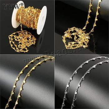 e1f8f85899a2 Cadena de acero inoxidable de los hombres y las mujeres la fabricación de  la joyería DIY materiales 10 m carrete color oro collar de pulseras  resultados 10 ...