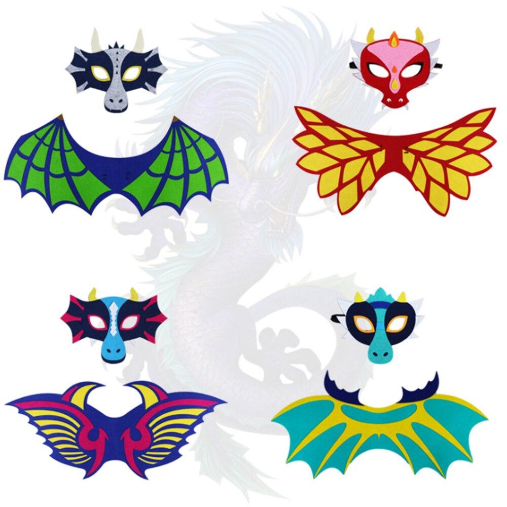 Funny Halloween Performance Props Dinosaur Dragon Wings Set Fire Dragon Ice Dragon Masks Halloween Show Props Car phone