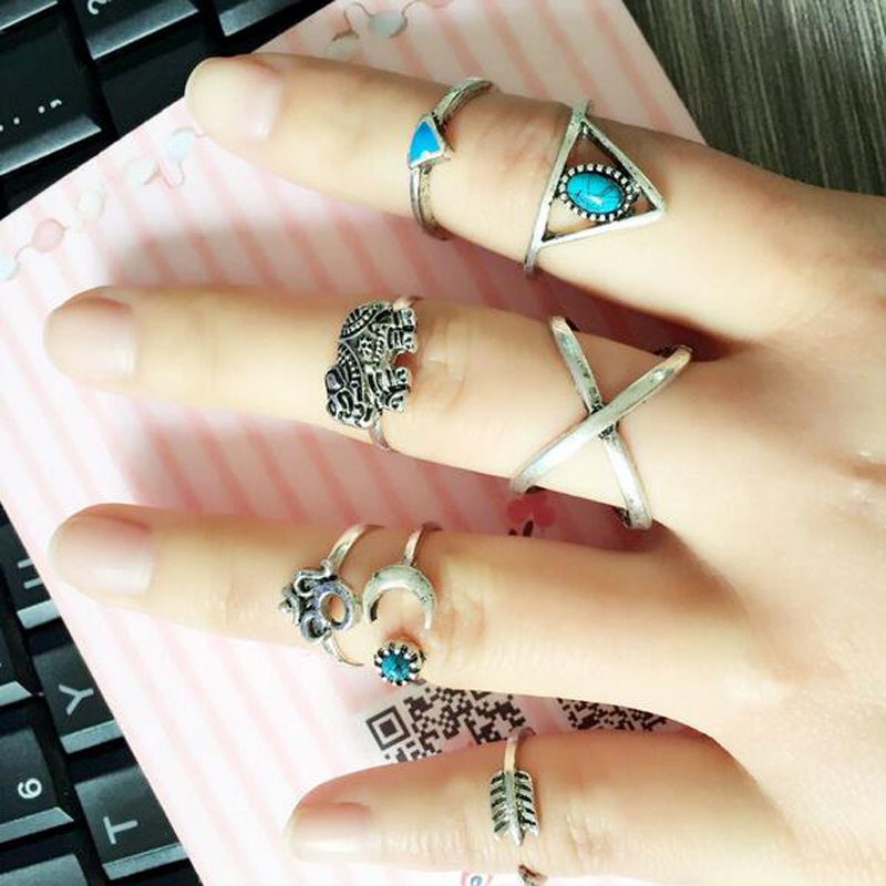 7pcs Vintage Silver Gold Boho Women Stack Plain Knuckle Ring