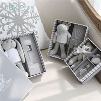 Miz Home Grey Gift Box Plush Toy With Essential Oil Lovely Fragrance Bottle Home Decoration Box
