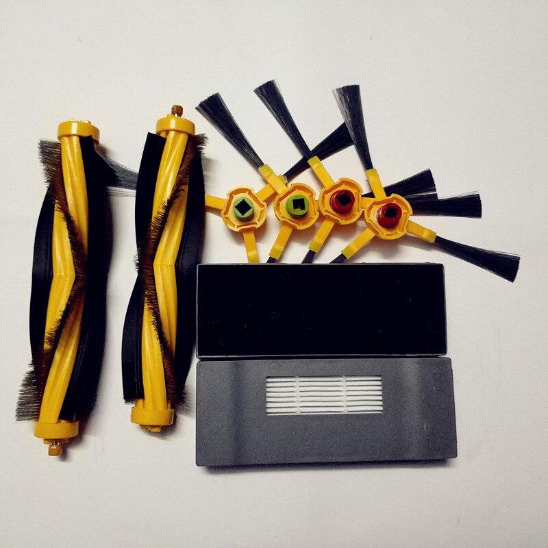 2 * filtro + 2 * Escova Principal Agitador Escova + 4 * escova Lateral de Substituição para Ecovacs Deebot Deeboo DT83 DT85 DM81
