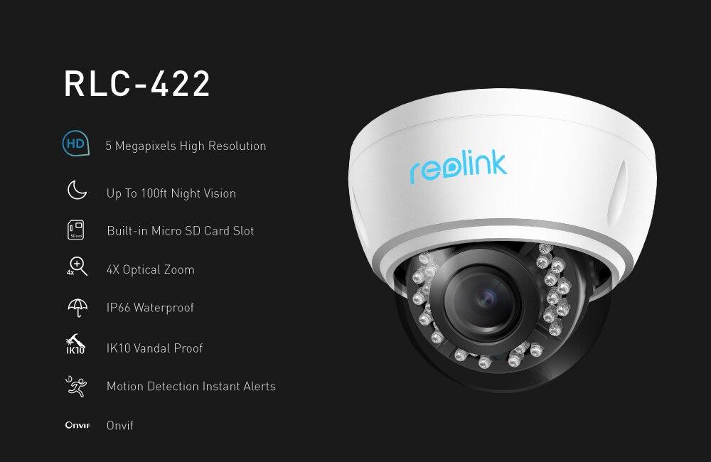 Reolink Security Camera 5Mp Poe 4X Optical Zoom Built-In Sd Card Slot  Outdoor Indoor Waterproof Ip