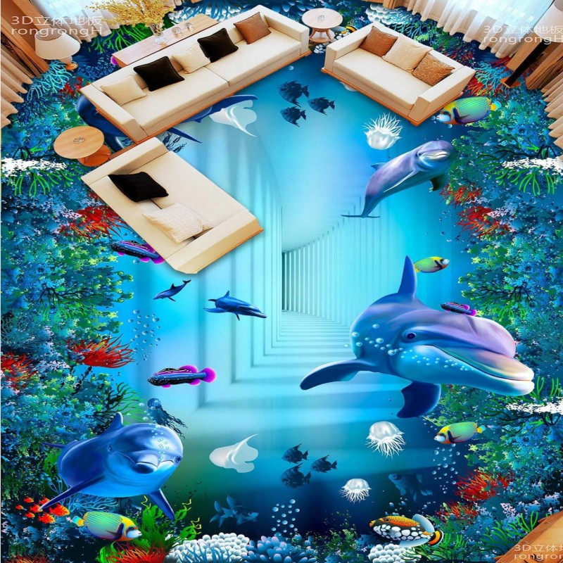 Free Shipping Sea World Dolphin 3D flooring painting wallpaper bedroom home decoration waterproof floor mural free shipping marble texture parquet flooring 3d floor home decoration self adhesive mural baby room bedroom wallpaper mural